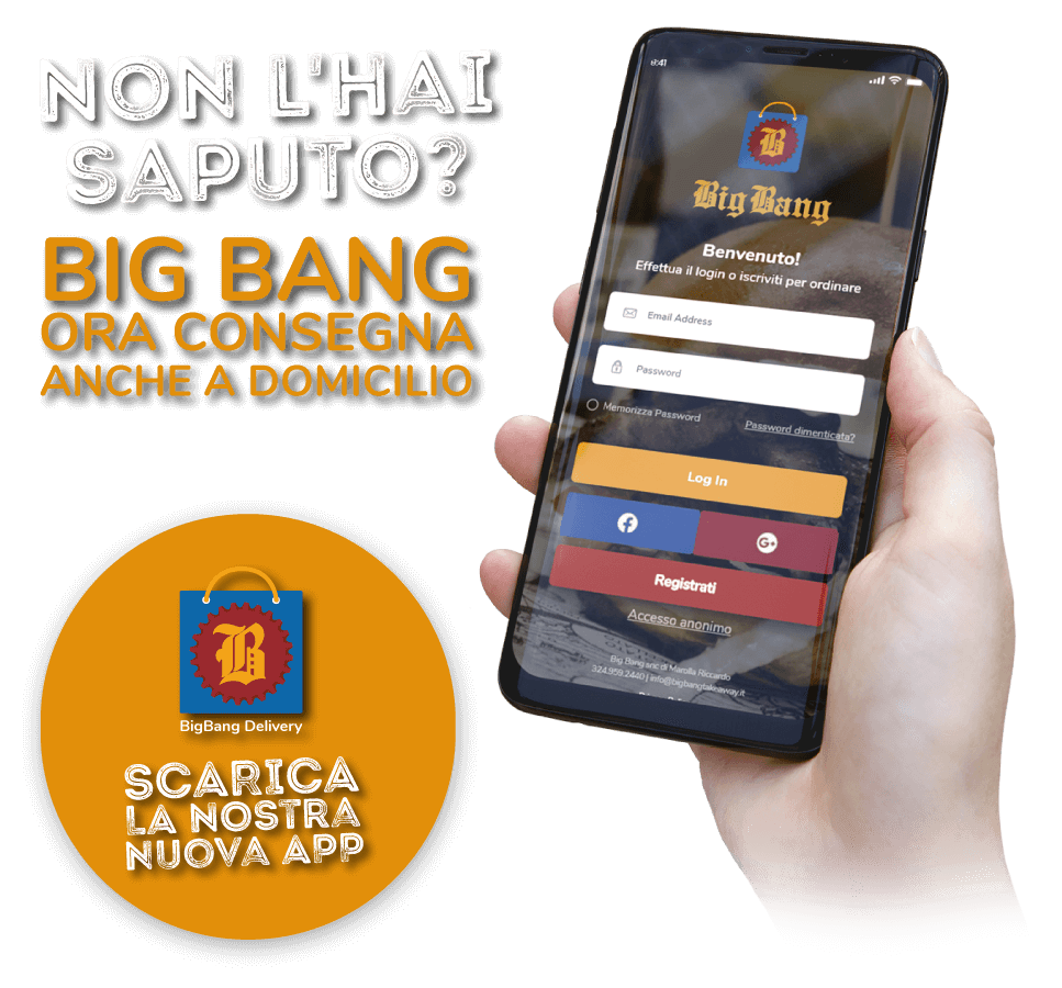 Ora big Bang consegna a domicilio